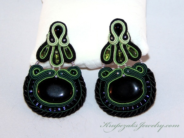 white background green tears black by krupczak jewelry unique handcrafted jewelry soutache technique